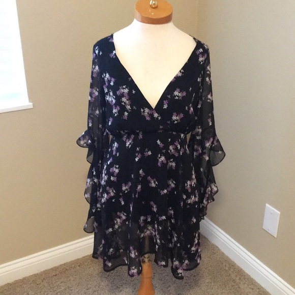 Express Dresses & Skirts - Express Black Dress with purple flowers